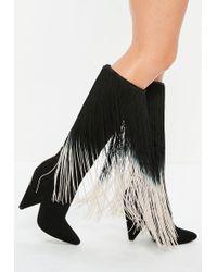 Missguided - Black Cone Heel Long Tassel Boots - Lyst
