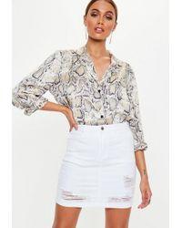 Missguided - White Distressed Super Stretch Denim Skirt - Lyst