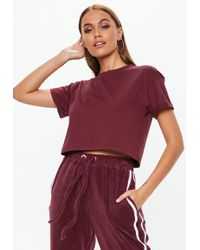 Missguided - Tall Burgundy Roll Sleeve Crop Top - Lyst