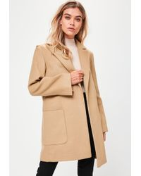 Missguided - Tan Slim Fit Coat - Lyst