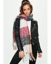 Missguided - Red Check Scarf - Lyst