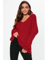 Missguided - Red Premium V Neck Boyfriend Jumper - Lyst