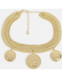 Missguided - Gold Coin Detail Thick Chain Choker Necklace - Lyst