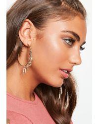 Missguided - Gold Charm Hoop Earrings - Lyst