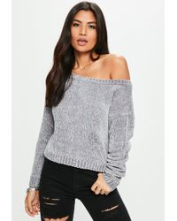 Missguided - Grey Off The Shoulder Chenille Jumper - Lyst