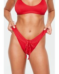 Missguided - Red Textured Lace Up Bikini Briefs - Lyst
