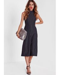 Missguided - High Neck Pinstripe Culotte Jumpsuit - Lyst