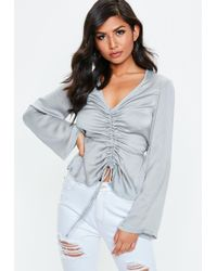 Missguided - Gray Ruched Front Long Sleeve Satin Blouse - Lyst