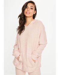 Missguided - Pink Brushed Hoodie - Lyst