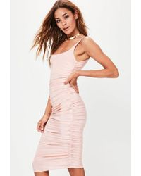 Missguided - Nude Slinky Gathered Side Midi Dress - Lyst