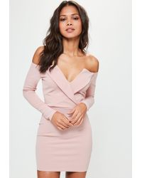Missguided - Pink Bardot Foldover Wrap Dress - Lyst