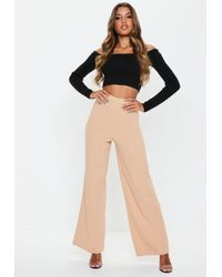 Missguided - Nude Stretch Crepe Wide Leg Trousers - Lyst