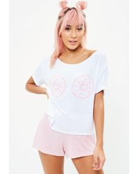 Missguided - White Doughnut Pyjama Set - Lyst