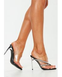 Missguided - Black Diamante Toe Post Clear Mules - Lyst