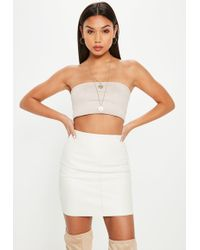 98bb08131 Missguided - Petite Cream Faux Leather Mini Skirt - Lyst