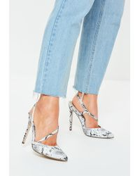 9b68fd74a65 Lyst - Missguided Nude Lace Up Mesh Pointed Heels in Natural