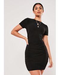 Missguided Black Slinky Buckle One Sleeve Mini Dress
