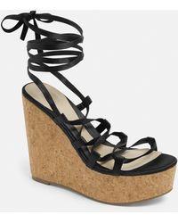 Missguided Black Satin Cork Heel Wedges