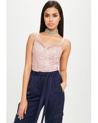Missguided - Carli Bybel X Pink Lace Bodysuit - Lyst