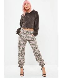 Missguided - Premium Nude Camo Trousers - Lyst