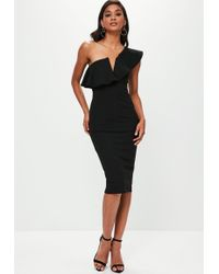 Missguided - Black One Shoulder Frill Midi Dress - Lyst
