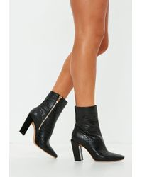 Missguided - Black Feature Heel Croc Ankle Boots - Lyst