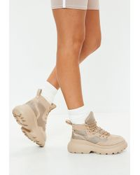 Missguided - Beige Double Sole Hiking Sneaker Boots - Lyst