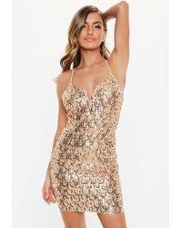 5f1d8cec Missguided Gold Glitter Bardot Mini Dress in Metallic - Lyst