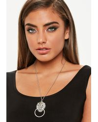 Missguided - Silver Lion Necklace - Lyst