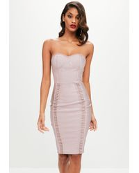 Missguided - Nude Bandage Bustcup Metal Strap Detail Midi - Lyst