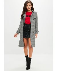 Missguided - Black Checked Trench Coat - Lyst