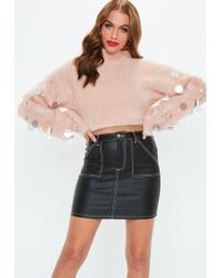 Missguided - Pink Disc Sequin Fluffy Cropped Jumper - Lyst