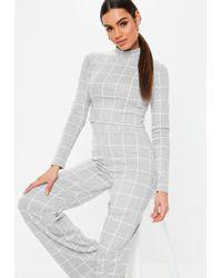 72ec69365b707a Lyst - ASOS Kimono Crop Top With Obi Tie Back In Grid Print in Black