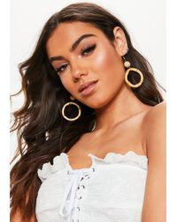 Missguided - Beige Bamboo Hoop Earrings - Lyst