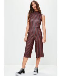 Missguided - Black High Neck Striped Culotte Jumpsuit - Lyst