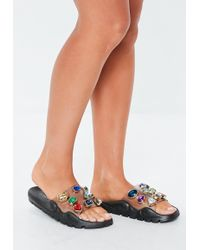 Missguided - Black Extreme Jewel Embellished Chunky Sliders - Lyst