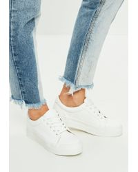 Missguided - White Faux Leather Flat Form Trainers - Lyst