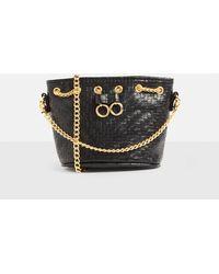 Missguided - Black Woven Chain Drawstring Mini Cross Body Bag - Lyst