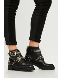 Missguided - Black Studded Chunky Out Sole Ankle Boots - Lyst