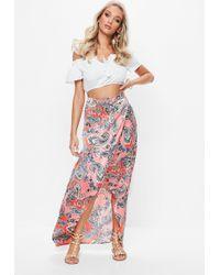Missguided - Pink Paisley Print Split Maxi Skirt - Lyst