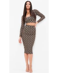 Missguided - Khaki Monogram High Wasited Pencil Skirt - Lyst