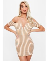 Missguided - Camel V Bar Stripe Bardot Dress - Lyst