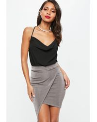 Missguided - Gray Metallic Slinky Wrap Front Asymmetric Midi Skirt - Lyst