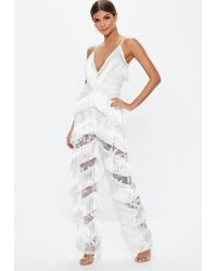 Missguided - White Plunge Fringe Lace Jumpsuit - Lyst
