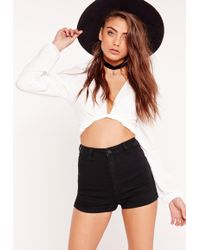 Missguided - Vice High Waisted Denim Shorts Black - Lyst