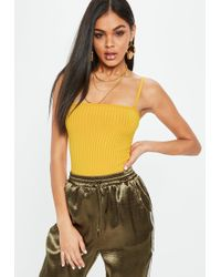 Missguided - Yellow Square Neck Ribbed Bodysuit - Lyst