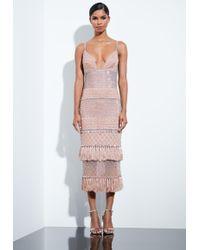 Missguided - Peace + Love Nude Beaded Tassel Midi Dress - Lyst