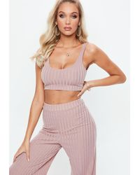 Missguided - Mauve Ribbed Bralet - Lyst