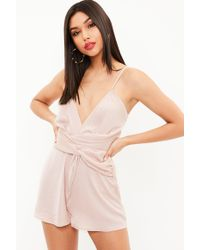 Missguided | Nude Twist Front Strappy Romper | Lyst