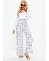 Missguided - White Check Print Chain Wide Leg Trousers - Lyst